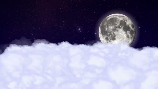 Nuvole Luna Volando Nel Cielo Notturno Animazione Rendering