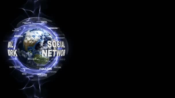 SOCIAL NETWORK Text Animation and Earth, with Keywords, Rendering, Background, Loop, 4k