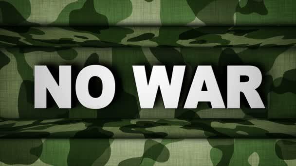 Nem háború szöveg élénkség-ban katonai ajtó, visszaadás, háttér, hurok, 4k