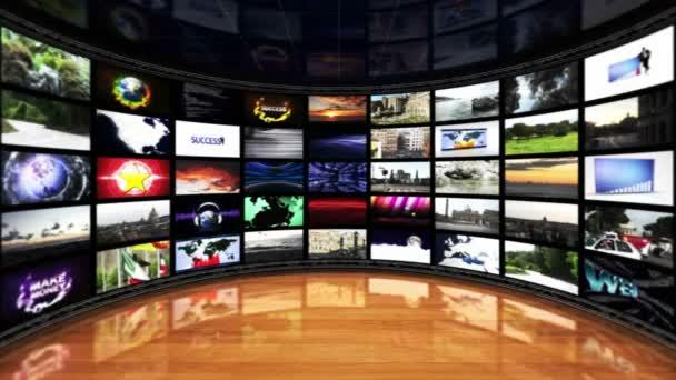 Monitorok szoba, televízió virtuális set Technology koncepció, animáció, háttér, loop, 4k