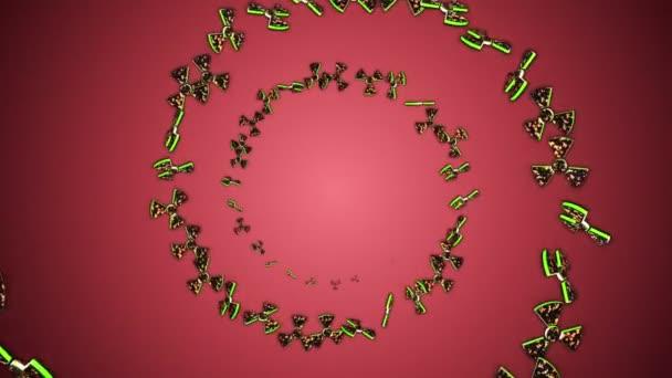 Nukleáris szimbólumok Részecskék Gyűrű, Sugárzás veszélyességi szimbólumok Animáció, Renderelés, Háttér, Loop, 4k