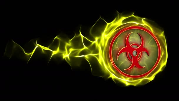 Biohazard a részecskék Ring, sugárzás veszély Danger szimbólum animáció, renderelés, háttér, loop, 4k