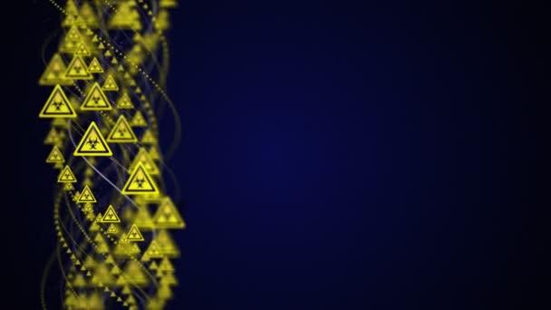 Összefonódó nukleáris szimbólum, sugárveszély veszély szimbólumok Animáció, Renderelés, Háttér, Loop, 4k