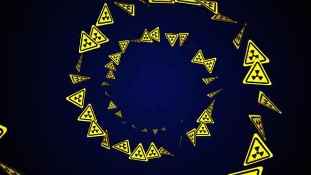 Nukleáris szimbolikus részecskék gyűrű, sugárzás veszélyességi szimbólumok Animáció, Renderelés, Háttér, Loop, 4k