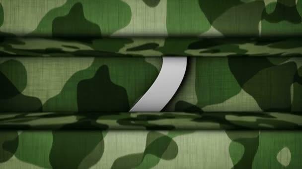 Katonai kapu, visszaszámlálás és kék képernyő animáció, renderelés, háttér, hurok, 4k