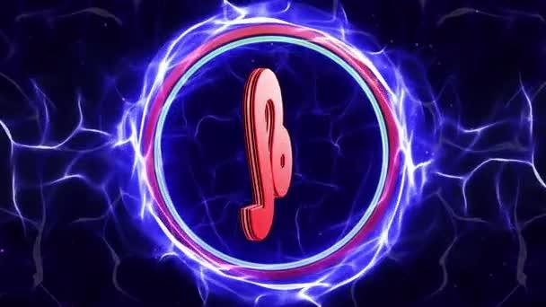 Sternzeichen Löwe in Teilchenring, Horoskop, Hintergrund, Schleife, 4k
