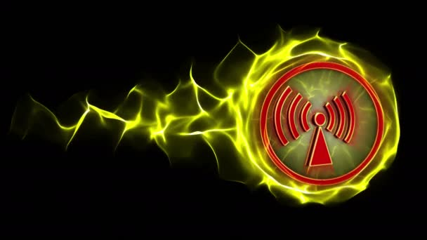 Nem-ionizáló sugárzás veszély szimbólum animáció, renderelés, háttér, loop, 4k