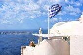 Isola di Santorini, Grecia. Oia, città di Fira. Case tradizionali e famose e chiese sulla Caldera, sul Mar Egeo