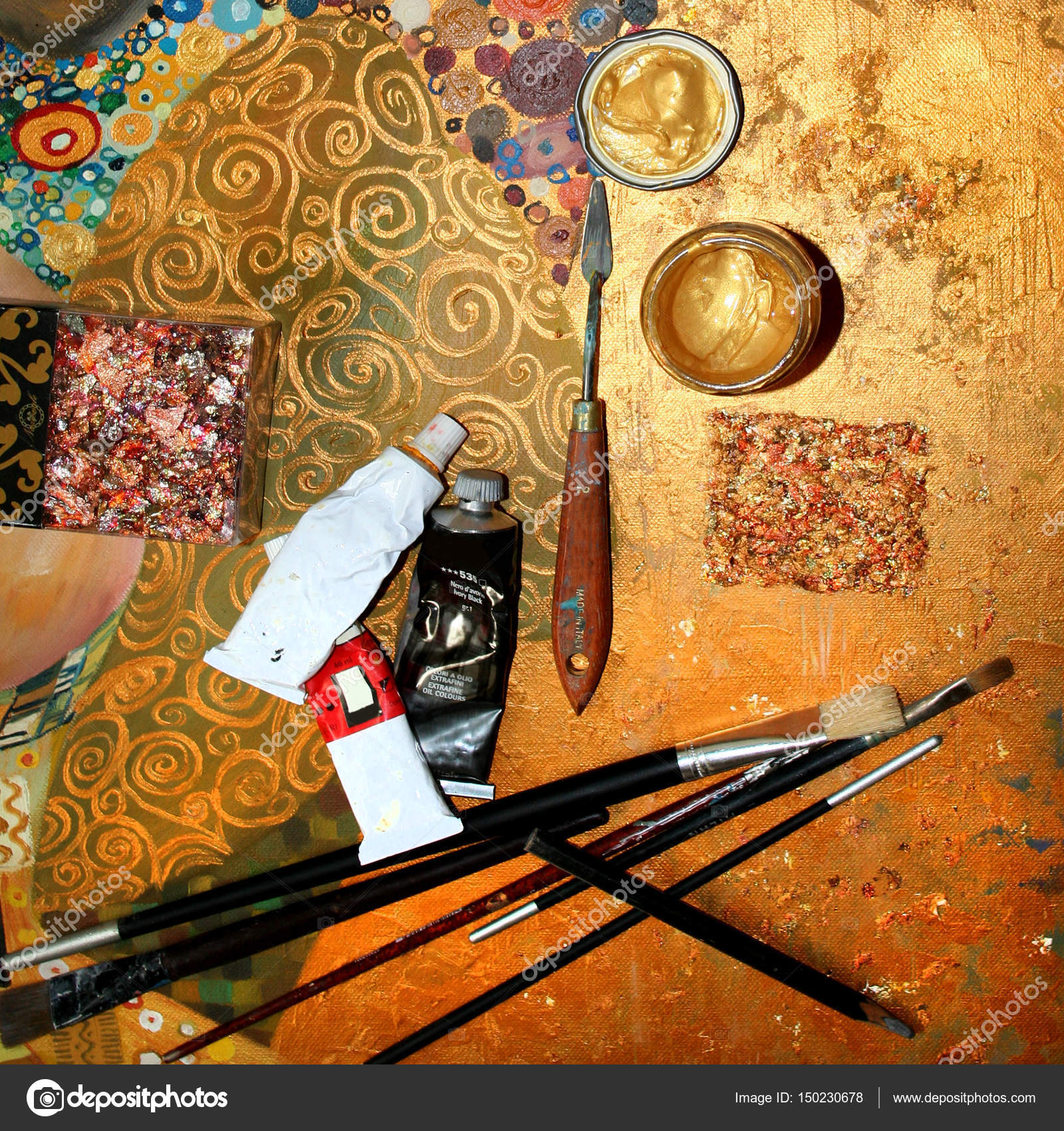 peint la toile palette pinceaux et tubes de peinture l huile lieu de travail de peintre. Black Bedroom Furniture Sets. Home Design Ideas