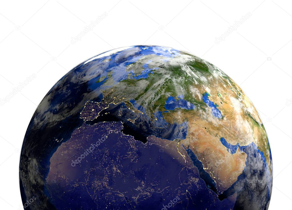 Planet earth in space.Europe, Africa, Asia. 3d render.