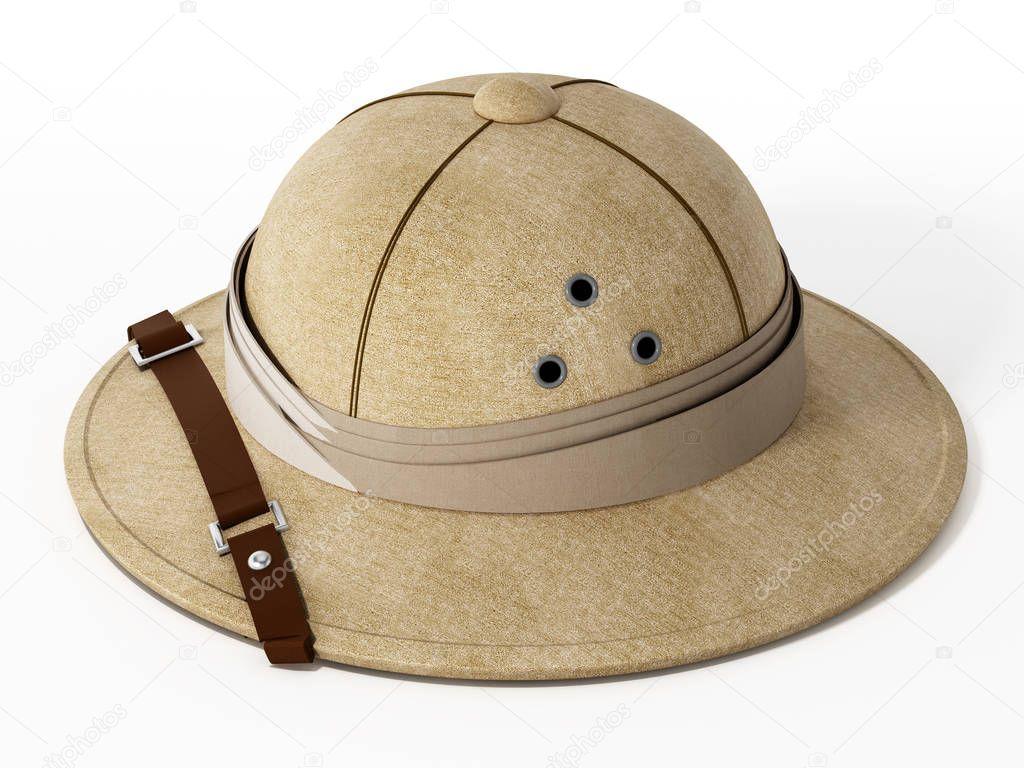 Cappello di esploratore dell annata isolato su priorità bassa bianca.  illustrazione 3D– immagine stock e454cec21495