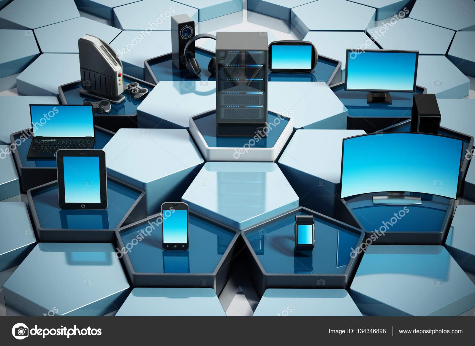 Rete con piastrelle di pentagono collegamento di dispositivi
