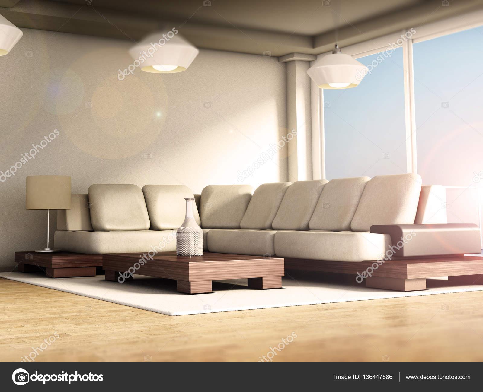 int rieur de chambre moderne avec sol en parquet et de grandes fen tres illustration 3d. Black Bedroom Furniture Sets. Home Design Ideas