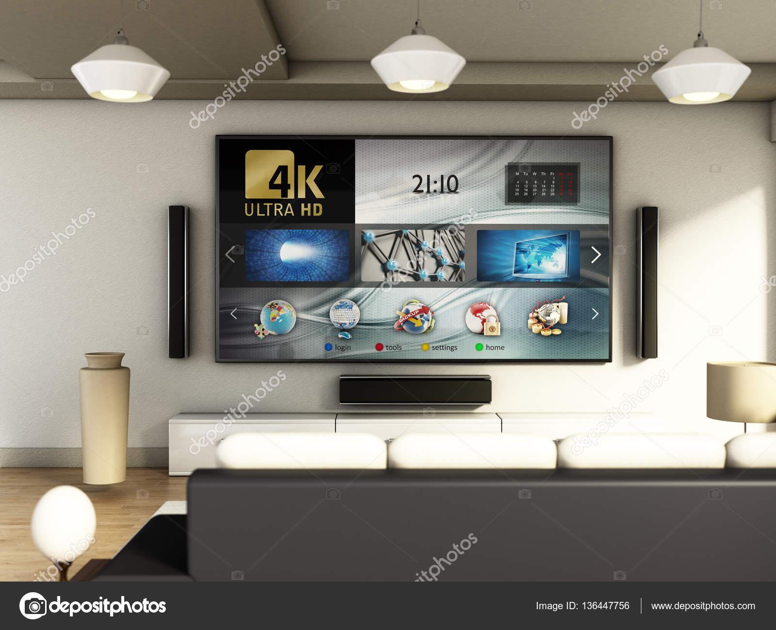 Tv In Vloer : Moderne 4k smart tv ruimte met grote ramen en parket vloer. 3d