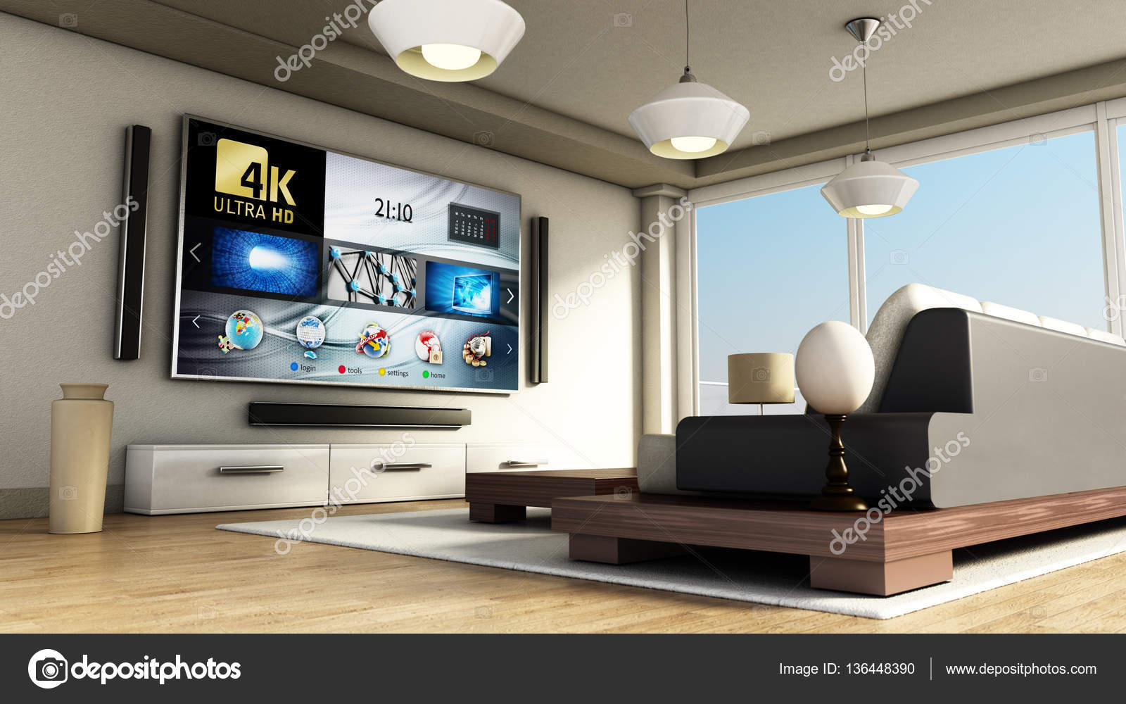 4k Moderno Inteligente Sala De Tv Com Grandes Janelas E Piso De  -> Sala De Tv Tamanho