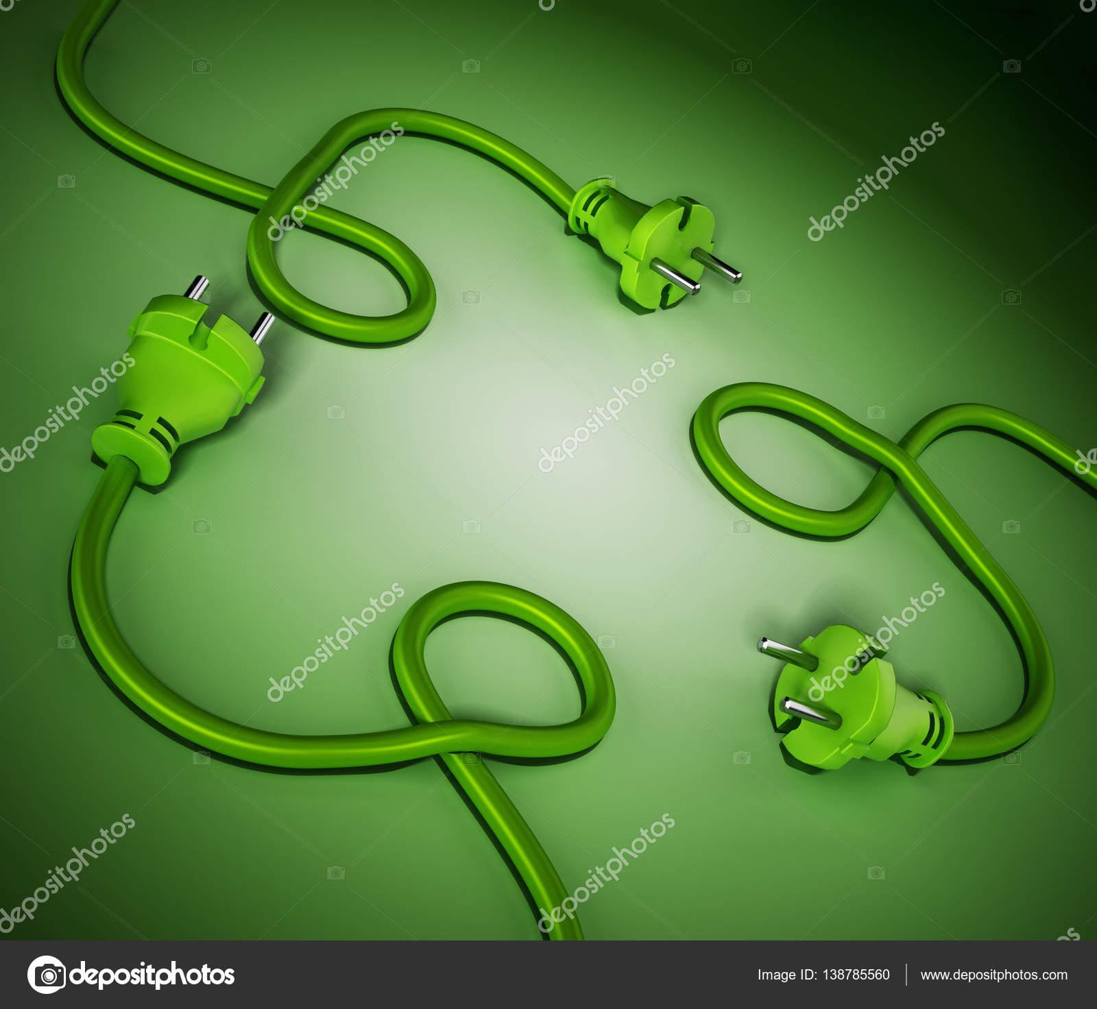 Elektrische Stecker und Kabel bilden ein Recycling-Symbol. 3D ...