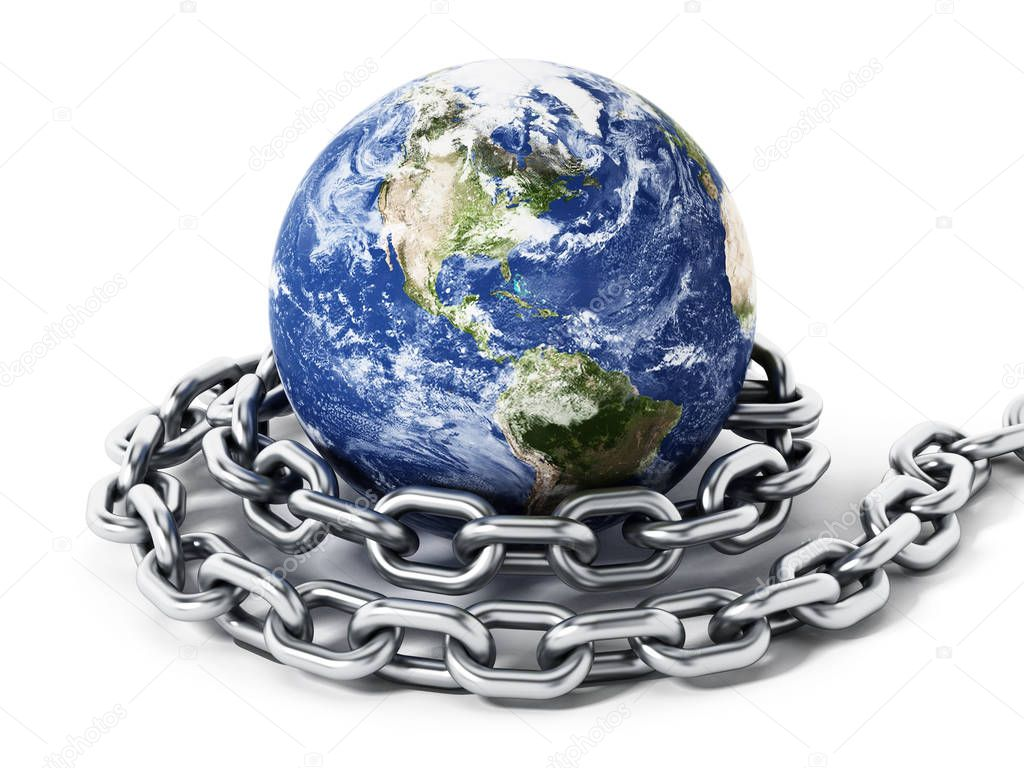 Earth tied with steel chain. 3D illustration