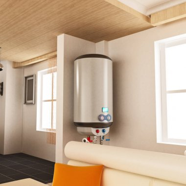 Water heater hanging on the wall. 3D illustration