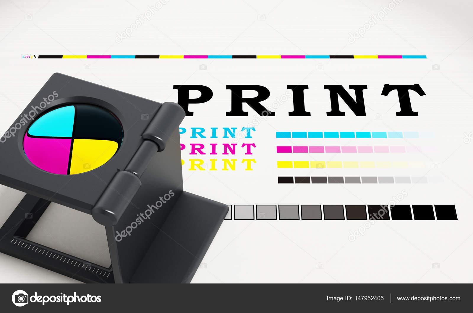 Pie de lupa de impresión en papel de prueba de color. Ilustración 3D ...
