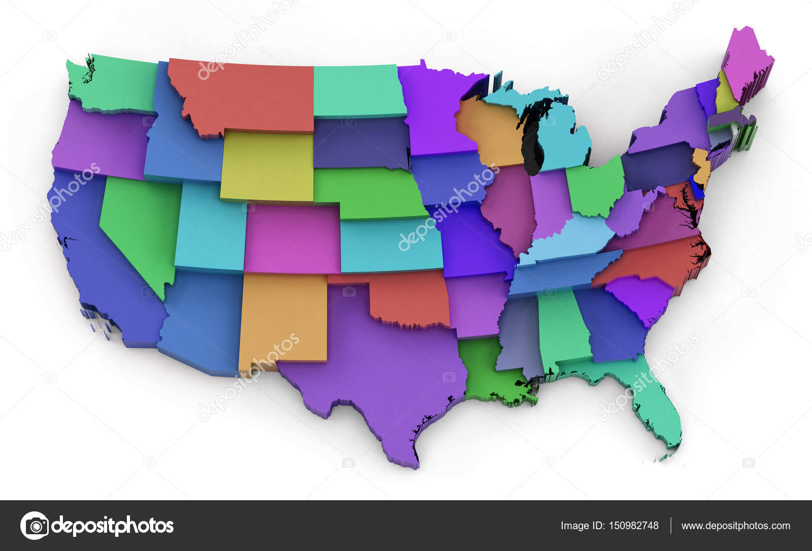 Multi colored USA map showing state borders 3D illustration