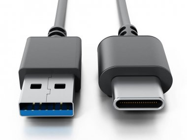 USB type C and USB 3.0 cables isolated on white background. 3D illustration