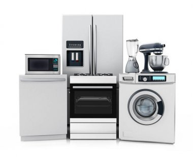 Household equipments isolated on white background. 3D illustration