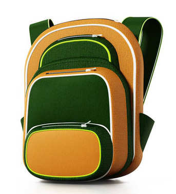 School bag isolated on white background. 3D illustration