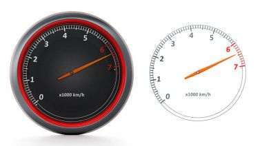 RPM meters isolated on white background. 3D illustration