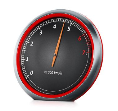 RPM meter isolated on white background. 3D illustration