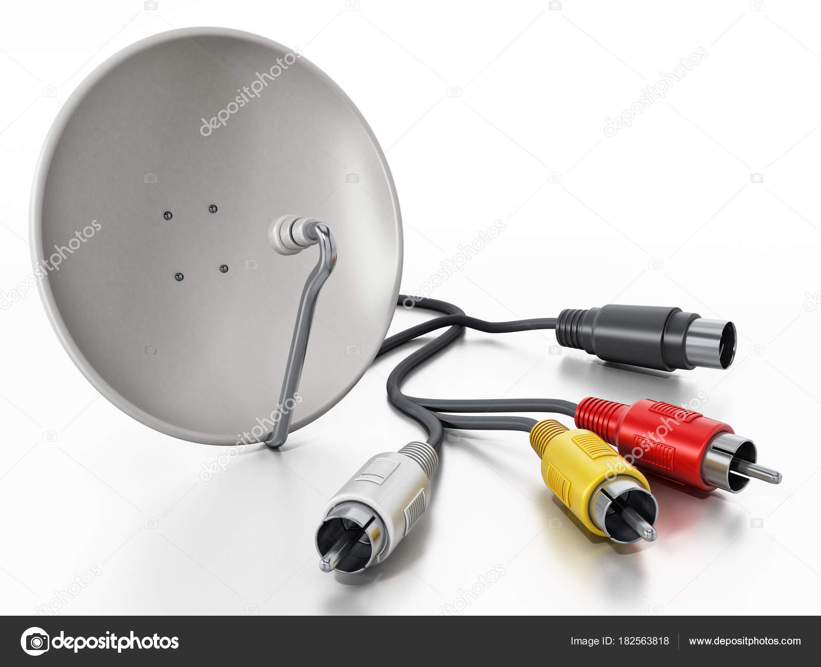 Satellite Dish And S Video Cables Isolated On White Background 3d Wiring Illustration Stock