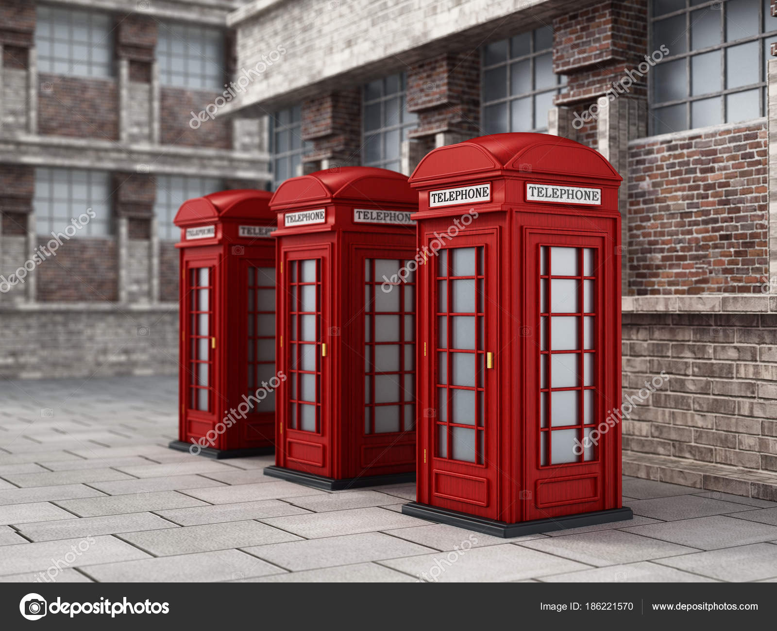 Red British phone booths in the street  3D illustration — Stock