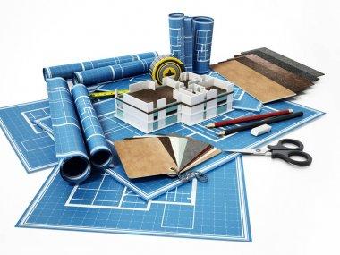 Home decorating tools standing on house bluprints. 3D illustration