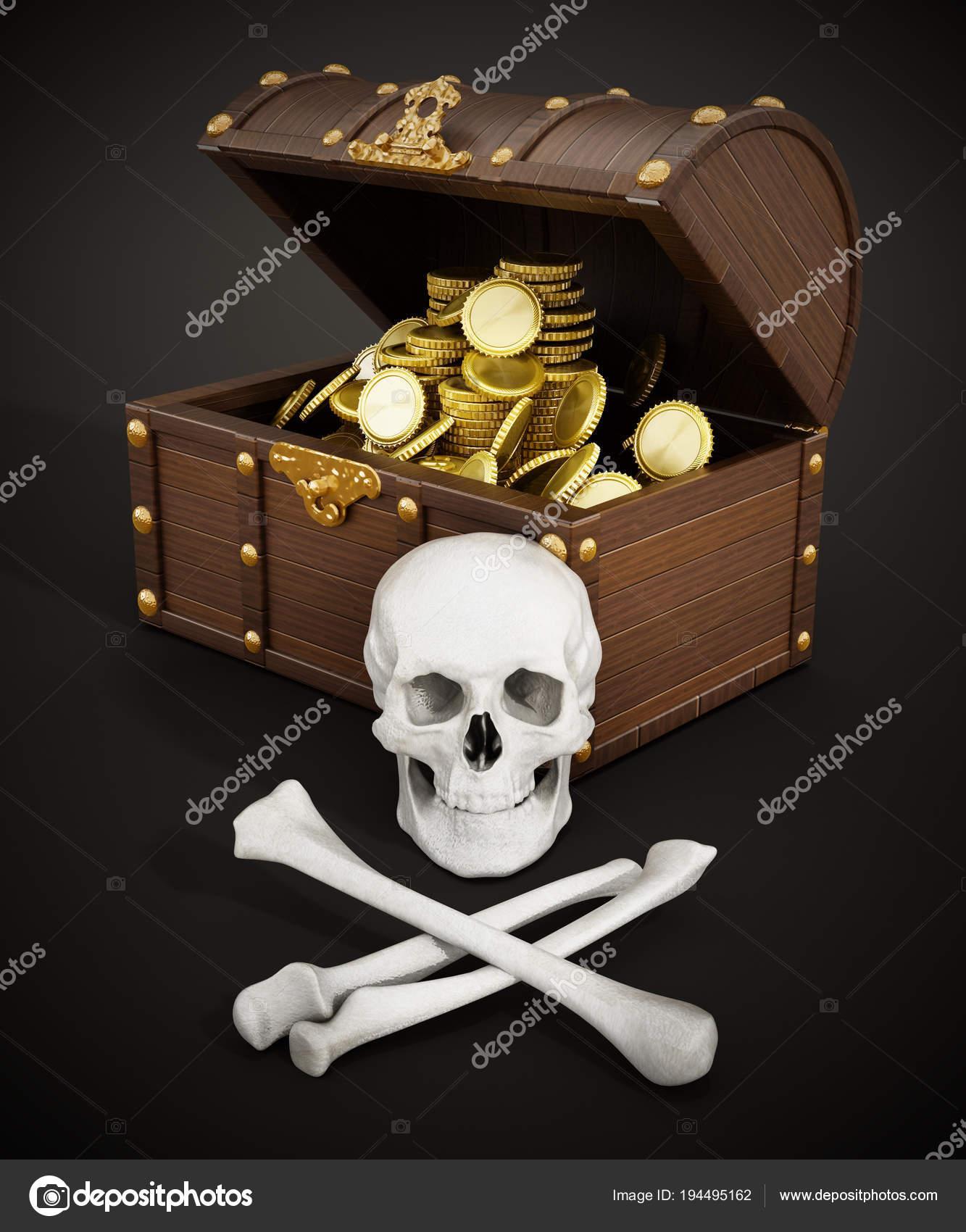 Chest Full Of Gold Skull And Bones 3d Illustration Stock Photo