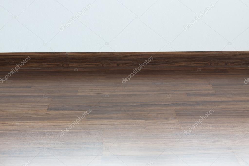 Leeren Raum Interieur, Braune Holz Laminatboden Und Weißen Mörtel U2014  Stockfoto