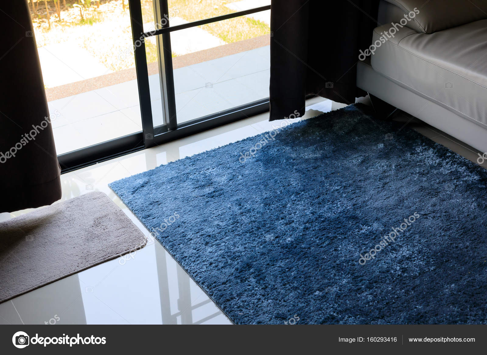 Blue Carpet Softness Texture Decoration Floor Interior Modern House Photo By Sutichak