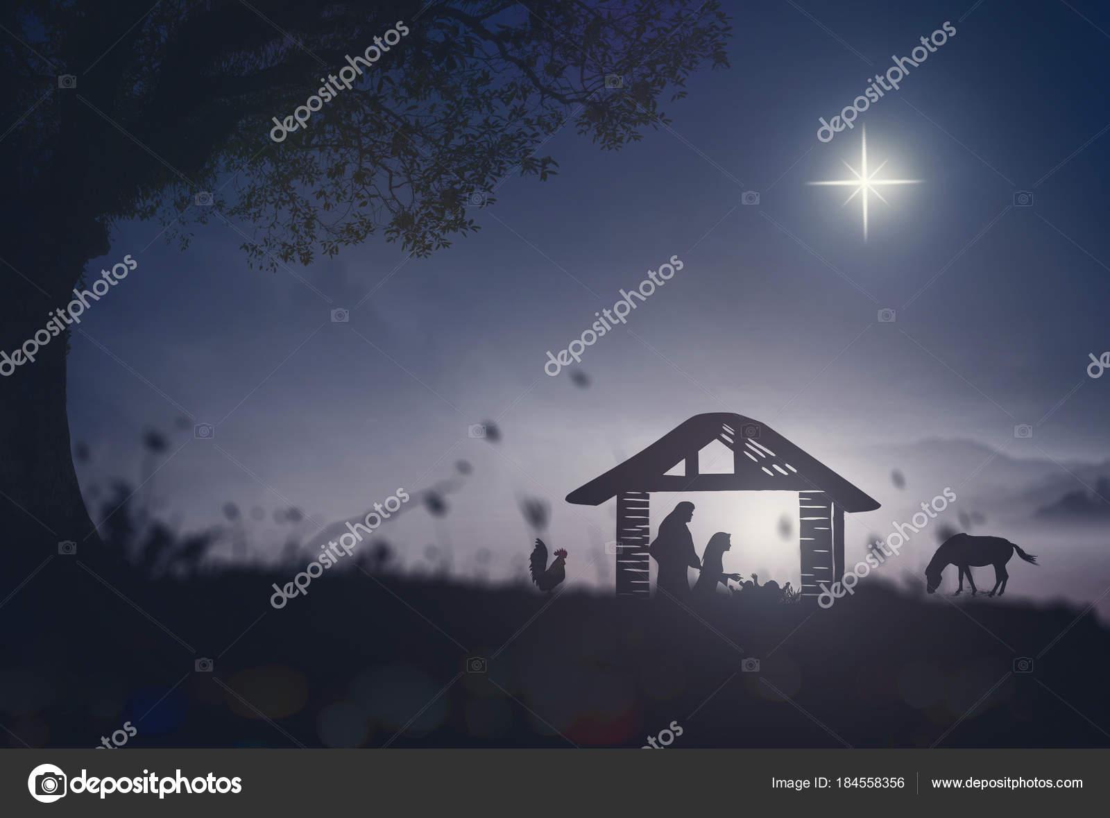 2dada183a65 Concepto de historia de Natividad  silueta madre Mary