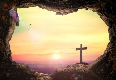 Good Friday concept: Empty tomb with cross symbol for Jesus Christ is risen