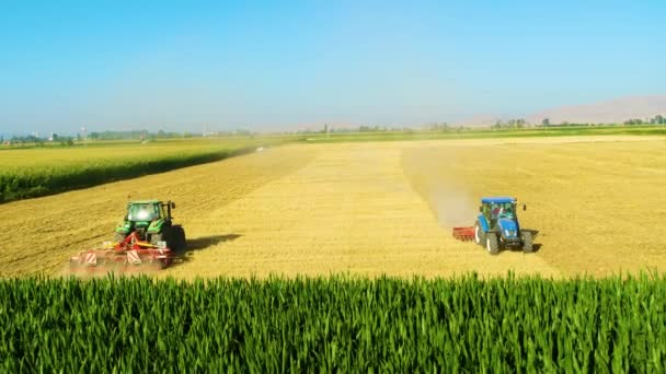 Aerial view of agricultural machines working in wide plains and fields in summer