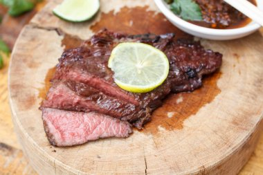 Beef steak on wood background