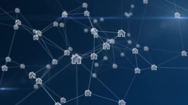 Plexussilhouetten von Häusern, die mit einem großen Netzwerk verbunden sind und sich auf blauem Hintergrund drehen. Konzept von Technologie, Kommunikation oder sozialen Medien.