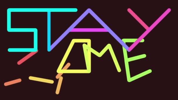 STAY HOME slogan napsaný a animovaný neonovými vektory