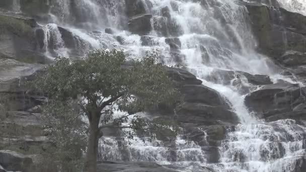 Vodopád v jarním období se nachází v hlubokém deštném pralese. Mae Ya Waterfall, Chiang Mai, Thajsko.