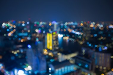 Night lights city residence area, abstract blurred bokeh background