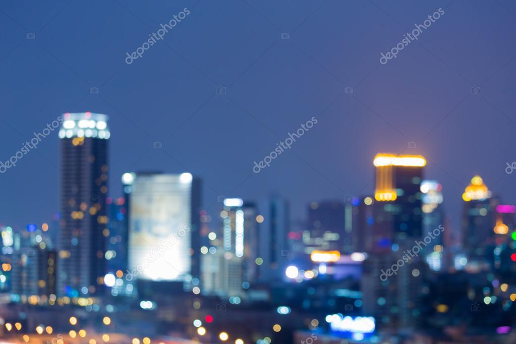 Gece ışık şehir Ofis Binası Arka Plan Bulanık Stok Foto