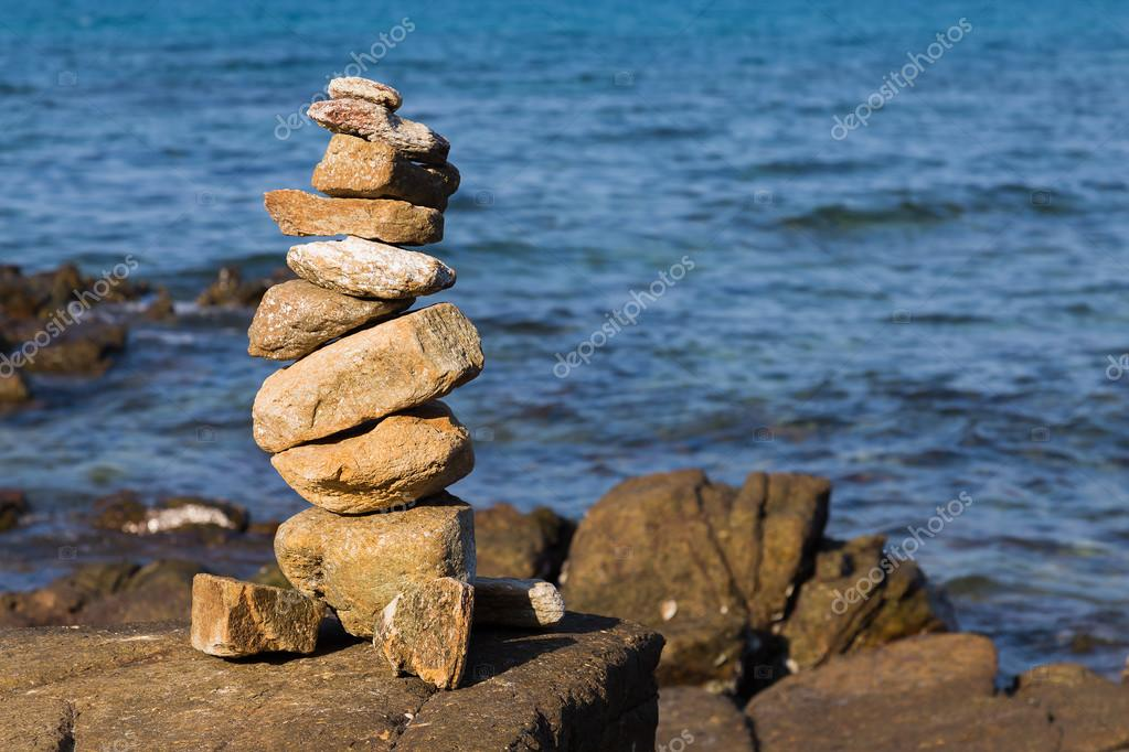 Stone stack with ocean background