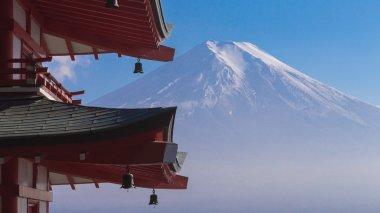 Fuji volcano mount back of red pagoda