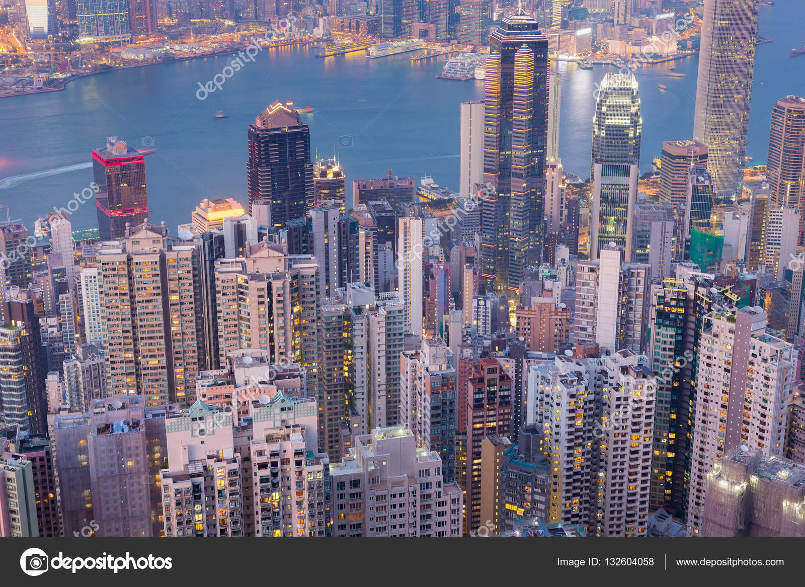 Aerial view Hong Kong central business district over ...