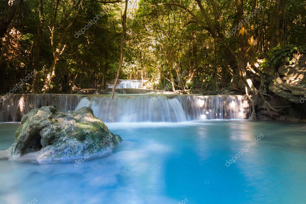 Фотообои Deep forest blue stream waterfall