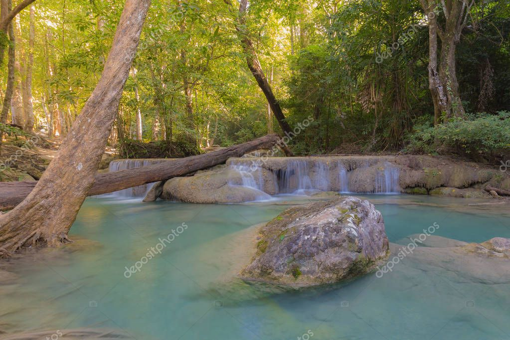 Фотообои Deep forest natural blue stream waterfalls