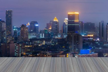 Night office building light aerial view, cityscape downtown background